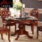 �W式�A桌 10人桌餐桌椅�M合 全��木客�d仿古美式 大理石�桌