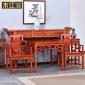 仿古明清家具中堂四件套六件条案条几中式榆木太师椅八仙桌组合