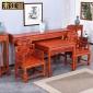 仿古中式实木家具批发 香案供桌神台 灵芝中堂四件套灵芝太师椅
