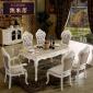 �W式�L方形��木雕花大理石餐桌椅�M合家用橡木�W式餐桌椅方形
