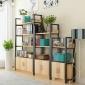 现代钢木架组合书架创意书柜简易置物架时尚多层带门储物柜货架