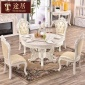 �W式餐桌椅�A形�M合大理石�A桌��木雕花6人�мD�P�桌�M合家具